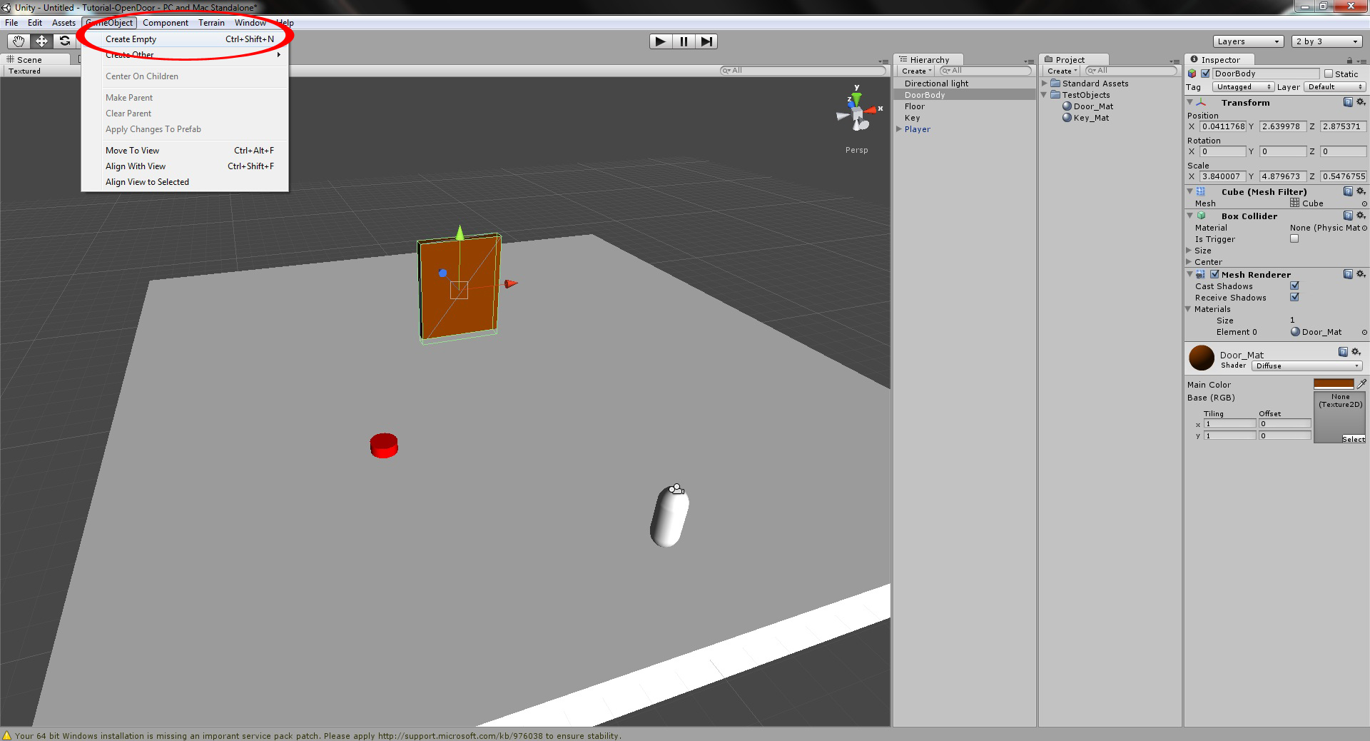 How to open a door with a key and GUI alerts in unity 3D